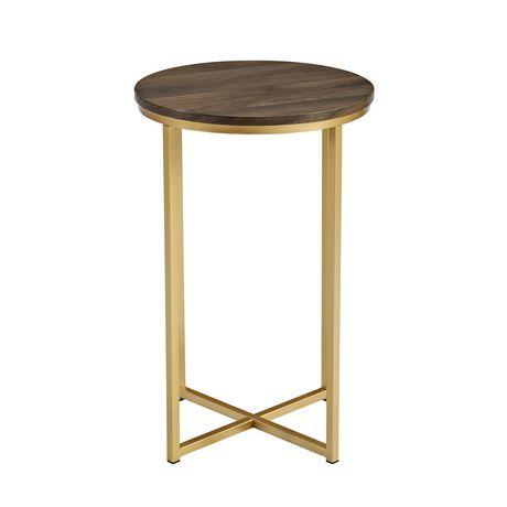 Manor Park Round Side Table - Dark Walnut/Gold - image 5 of 7