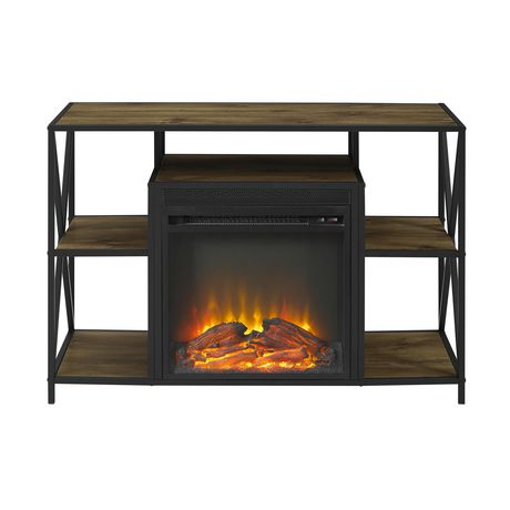"""Manor Park Rustic Industrial Fireplace TV Stand with Open Shelves for TV's up to 44"""" - Barnwood - image 5 of 7"""