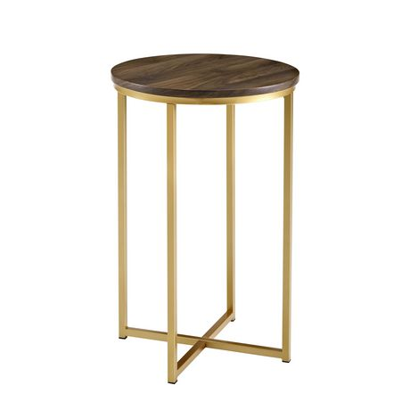 Manor Park Round Side Table - Dark Walnut/Gold - image 3 of 7