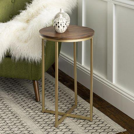Manor Park Round Side Table - Dark Walnut/Gold - image 1 of 7