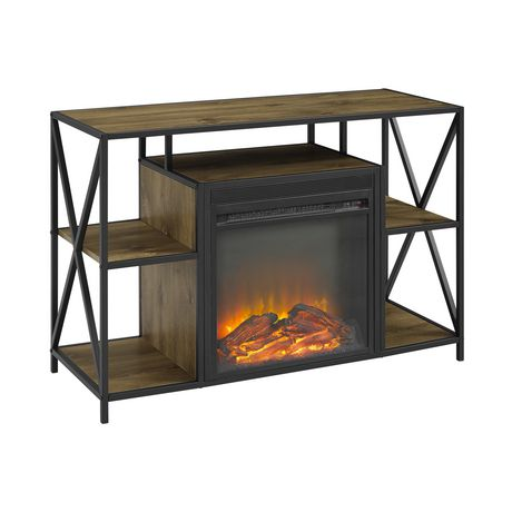 """Manor Park Rustic Industrial Fireplace TV Stand with Open Shelves for TV's up to 44"""" - Barnwood - image 3 of 7"""