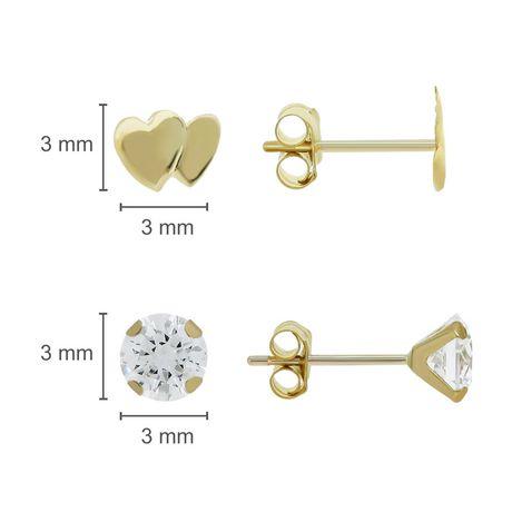 Aurelle-Ensemble de boucles d'oreilles en or jaune 10KT avec zircones cubiques rondes blanches Swarovski 3mm et double cœur - image 2 de 2