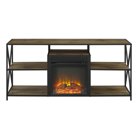 """Manor Park Rustic Industrial Fireplace TV Stand for TV's up to 66"""" - Barnwood - image 4 of 6"""