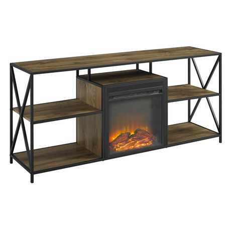 """Manor Park Rustic Industrial Fireplace TV Stand for TV's up to 66"""" - Barnwood - image 2 of 6"""