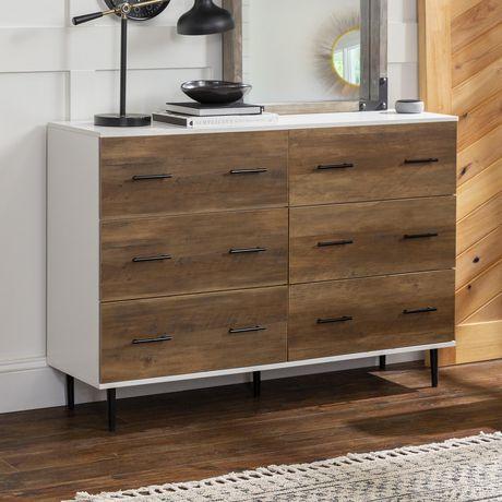 Manor Park Modern Transitional 6-Drawer Dresser - White/Reclaimed Barnwood  - image 2 of 6