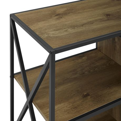 """Manor Park Rustic Industrial Fireplace TV Stand for TV's up to 66"""" - Barnwood - image 3 of 6"""