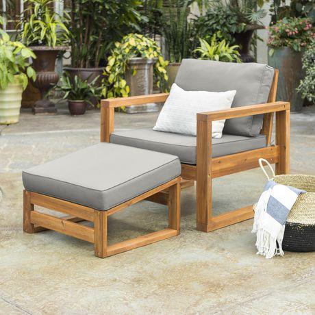 Amazing Manor Park Modern Patio Chair And Ottoman Brown Walmart Inzonedesignstudio Interior Chair Design Inzonedesignstudiocom