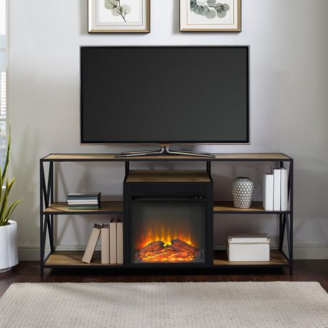 """Manor Park Rustic Industrial Fireplace TV Stand for TV's up to 66"""" - Barnwood - image 1 of 6"""
