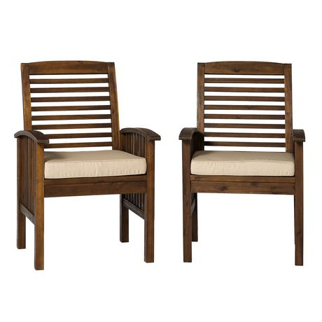 Astonishing Manor Park Acacia Wood Outdoor Patio Chairs With Cushions Set Of 2 Multiple Finishes Machost Co Dining Chair Design Ideas Machostcouk