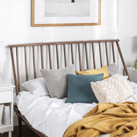 Manor Park Boho Mid Century Modern Wood Queen Spindle Bed ... on Modern Boho Bed Frame  id=56599