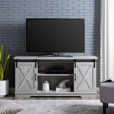 Manor Park Modern Farmhouse Barn Door Tv Stand For Tv S Up