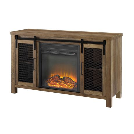 """Manor Park Rustic Farmhouse Fireplace TV Stand for TV's up to 52"""" - Multiple Finishes - image 3 of 9"""