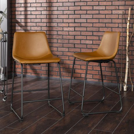 Groovy Manor Park 26 Industrial Faux Leather Counter Stool Set Of 2 Whiskey Brown Pabps2019 Chair Design Images Pabps2019Com