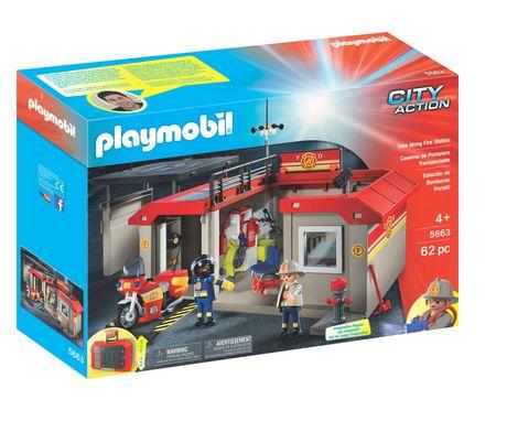Ensemble de jeu caserne de pompiers transportable de - Caserne pompier playmobil pas cher ...