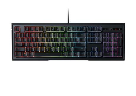 Black gaming keyboard with rainbow-coloured backlighting from Razer