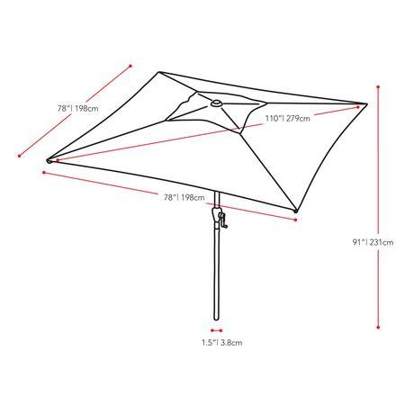 CorLiving 9 Ft Square Patio Umbrella - image 7 of 7