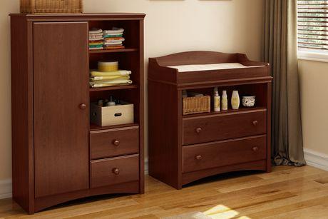 Table langer et armoire avec tiroirs cerisier royal for Armoire table a langer