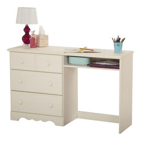 Bureau de travail 3 tiroirs blanc antique collection for Meuble bureau 3 tiroirs