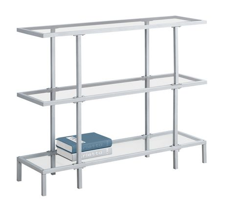 table d 39 appoint monarch specialties en verre tremp argent. Black Bedroom Furniture Sets. Home Design Ideas