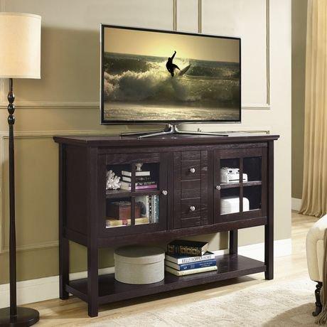 Walker Edison Espresso Wood Console Table Buffet TV Stand Walmart - Buffet tv