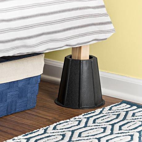 Pieds r hausseurs noirs de 15 2 cm 6 po pour le lit walmart canada - Pieds rehausseurs pour lit ...