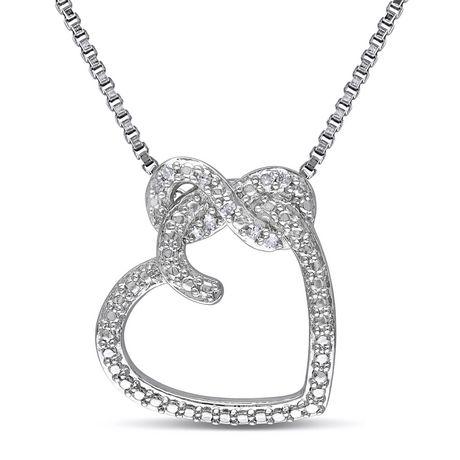 Pendentif Miabella en forme de cœur et infini avec 0.05 carat de diamants en argent sterling - image 1 de 4