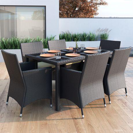 Sonax Park Terrace 7pc Charcoal Black Weave Patio Dining Set - image 1 of 6