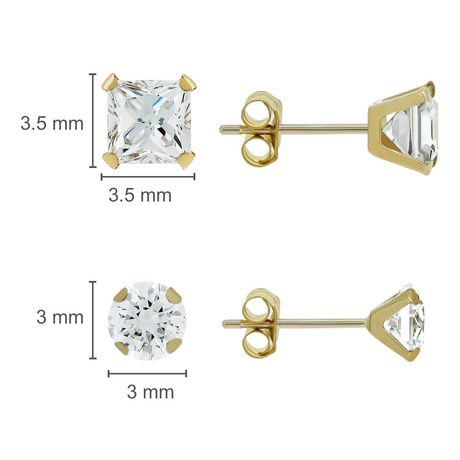 Aurelle- 14KT Yellow Gold Earring set with Swarovski 3MM Round & 3MM Square Cubic Zirconia - image 2 of 2