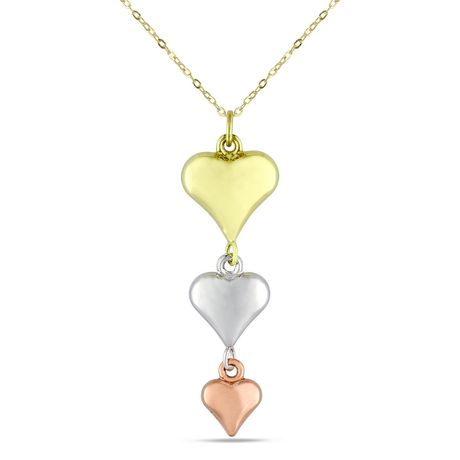 Delicate gold chain with gold heart, rose gold heart and white gold heart attached