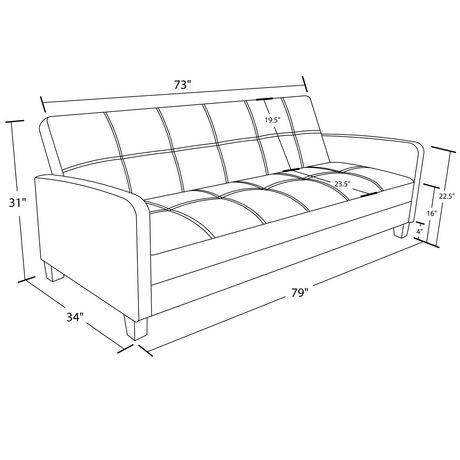 Ordinaire DHP Delaney Sofa Sleeper, Black