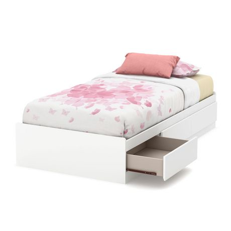 South shore callesto collection twin mates bed with 3 for Twin bed base with drawers