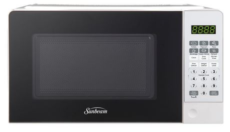 Black and white microwave from Sunbeam