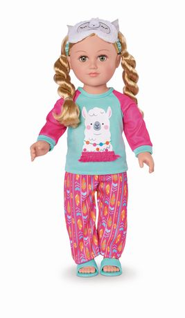 Girl doll with braided blond hair wearing pink and green pyjamas, made by My Life As