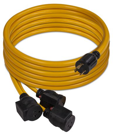 Firman 25FT Power Cord L5-30P 30AMP to 5-20Rx3 With Circuit Breaker  Protection 1105