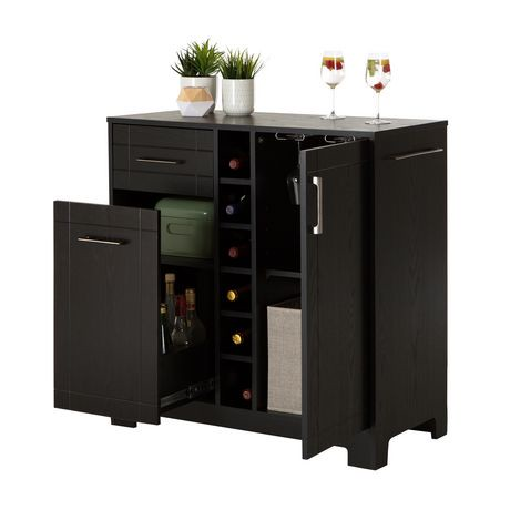 South shore vietti bar cabinet with bottle and glass for Meuble bar a boisson