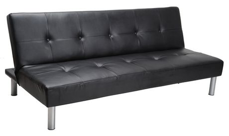 Good MAINSTAYS Faux Leather Sofa Bed   Black