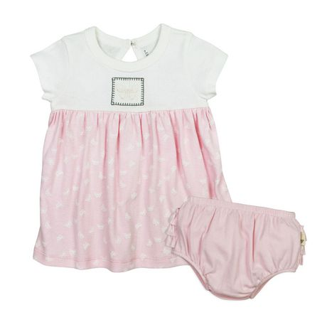 86e5417ec Burt's Bees Girls' Short Sleeve Butterfly Garden Dress & Diaper Cover Set  ...