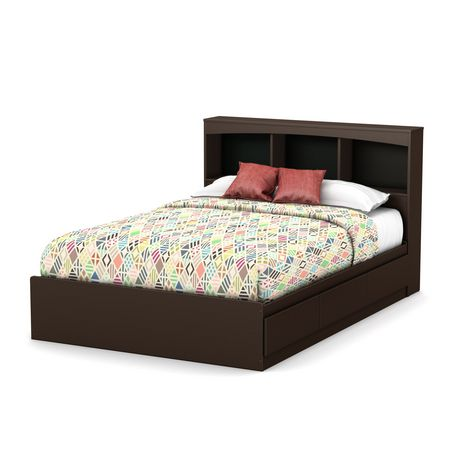 South shore soho full size mates bed with drawers and bookcase headboard 54 inch set for South shore bedroom set walmart