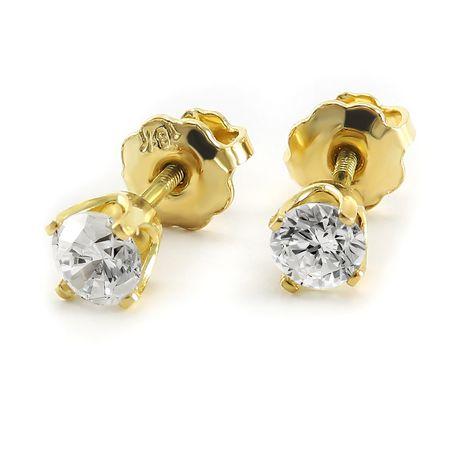 Pure316 - Boutons d'oreilles solitaires avec diamants 0,35 ct poids total en or jaune 18 k - image 1 de 3