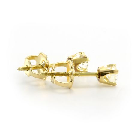 Pure316 - Boutons d'oreilles solitaires avec diamants 0,35 ct poids total en or jaune 18 k - image 2 de 3