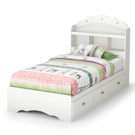 ensemble lit rangement simple avec tiroirs et t te de lit biblioth que 39 39 39 tiara blanc. Black Bedroom Furniture Sets. Home Design Ideas