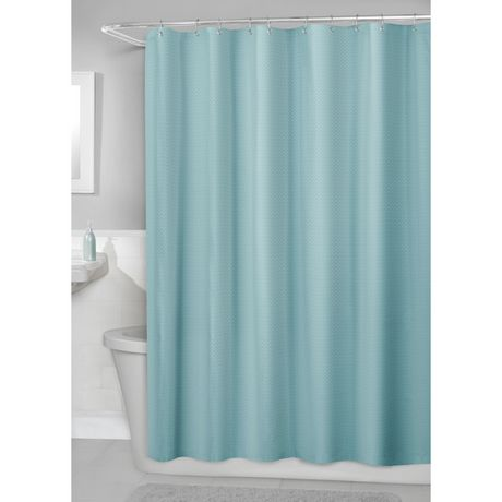 Hometrends Waffle Fabric Shower Curtain With PEVA Liner