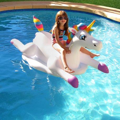 Blue Wave Cloud Rider Rainbow Unicorn Inflatable Ride On