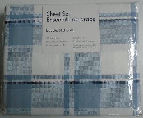 ensemble de draps de 130 fils au pouce carr. Black Bedroom Furniture Sets. Home Design Ideas