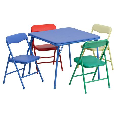Admirable Flash Furniture Kids Colorful 5 Piece Folding Table And Chair Set Caraccident5 Cool Chair Designs And Ideas Caraccident5Info