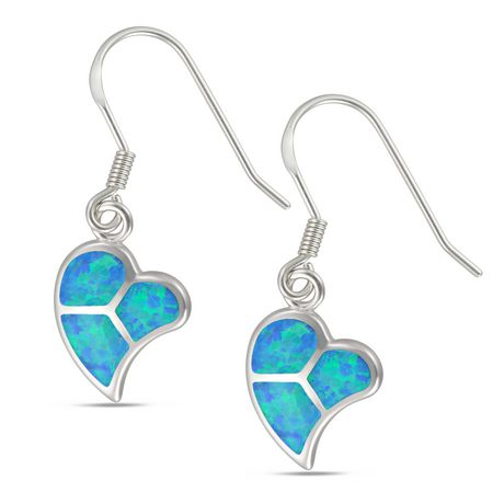 """Calypso Sterling Silver Heart Drop Earring with """"Light Blue"""" Synthic Opal - image 1 of 1"""