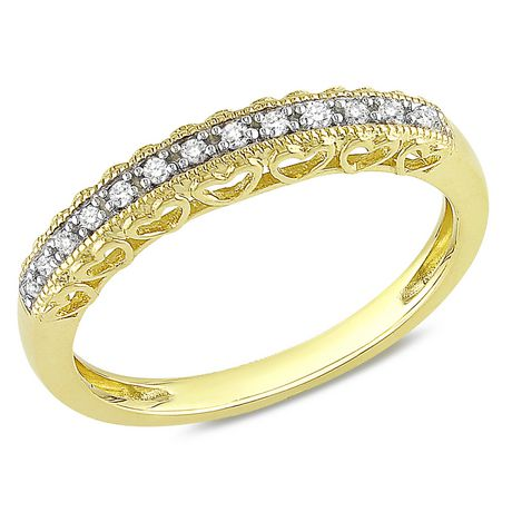 Miabella Fashion Ring with Diamond Accents in 10 K Yellow Gold - image 1 of 2