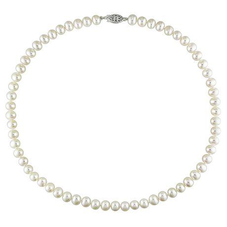 Miabella Collier de perles multicolores 6,5 à 7 mm avec fermoire en argent sterling, 18 po de longueur - image 1 de 1