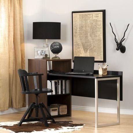 Bureau de travail avec rangement en noyer brun et noir for Bureau noir avec rangement