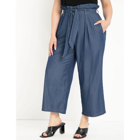 ELOQUII Elements Women's Plus Size Printed Ruffle Waist Pant